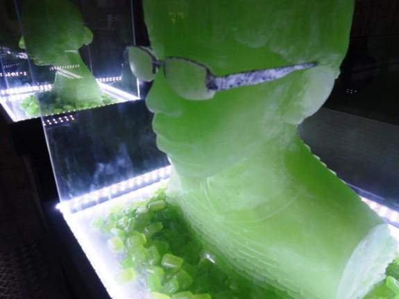 Busto de Halls Uva Verde em exposição no metrô Ana Rosa