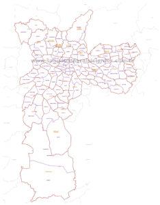 mapa sao paulo prefeituras regionais e distritos