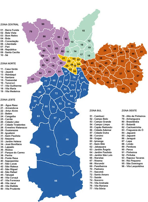 Adesivo De Parede Curitiba ~ Mapa de S u00e3o Paulo bairros e regiões S u00e3o Paulo para